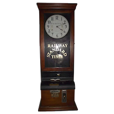 """Pennsylvania Railroad"" Employee Time Punch-Card Clock in a Cherry Case Circa 1920's !!!"