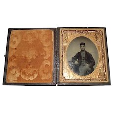 """""""Civil War Sharpshooter"""" young looking Sargent's Tintype Photograph in original Leather Bound Folding Case !!!"""