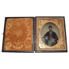 """Civil War Sharpshooter"" young looking Sargent's Tintype Photograph in original Leather Bound Folding Case !!!"