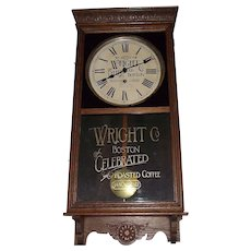 """Wright's Company Coffee"" Store Advertising Regulator made by the ""Sessions Clock Co."" circa 1930 !"