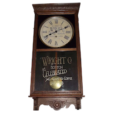 """""""Wright's Company Coffee"""" Store Advertising Regulator made by the """"Sessions Clock Co."""" circa 1930 !"""