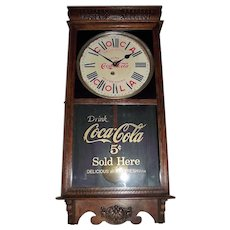 Coca Cola Store Advertising Clock marked with a 5 Cent priced Dial & Glass Tablet Circa 1920-1930's !!!