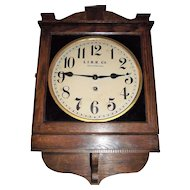 """""""Long Island Railroad"""" Square Gallery Clock with a Solid Oak Case circa 1920 !!!  Made by the """"Wm. L. Gilbert Clock Co."""""""