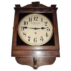 """Long Island Railroad"" Square Gallery Clock with a Solid Oak Case circa 1920 !!!  Made by the ""Wm. L. Gilbert Clock Co."""