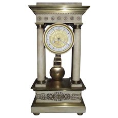 "Empire Period Gilt Brass Mounted ""Portico"" Mantle Clock !"