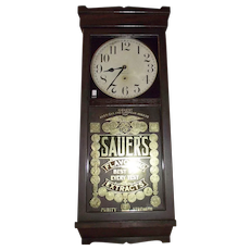 "Original ""Sauer's Extract"" General Store Regulator in a Deluxe Solid Mahogany Case !!!"