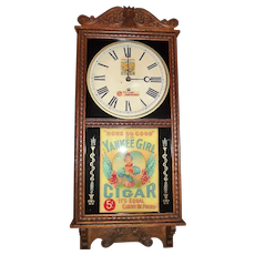 "RARE ""Yankee Girl Cigar"" Advertising Store Regulator made by the Wm. Gilbert Clock Co. !"