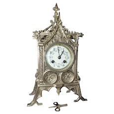 "Fabulously Detailed Solid Brass ""Gothic Chapel"" Clock with Original 8 Day Time & Strike Movement ! Circa 1890."