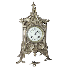 """Fabulously Detailed Solid Brass """"Gothic Chapel"""" Clock with Original 8 Day Time & Strike Movement ! Circa 1890."""