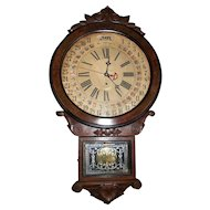 "Fabulous Carved Walnut ""Office Drop"" Model Calendar Clock, made by the Wm. L. Gilbert Clock Co. circa 1890 !!!"