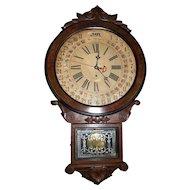"Fabulous Carved Walnut ""Office Drop"" Model Calendar Clock, made by the Wm. L. Gilbert Clock Co. circa 1890 !!!"