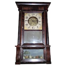 "SUPER Rare  ""Williams, Orton, Preston's and Co."" Triple Decker Clock with Double-Round Skeletal Time & Strike Movement !!! Circa 1836-1843."