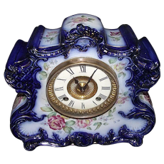 """Ansonia China Clock with Cobalt Blue with Gold Trim and Flowers on a marked """"Dresden Extra"""" Porcelain Case !"""