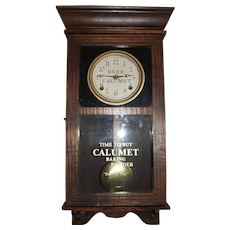 """Calumet Baking Powder"" Advertising Half-Size Store Regulator Clock !"