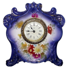 "Rare Miniature ""Royal Bonn"" China cased Ansonia Clock Model named ""Goblin"" !"