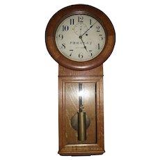 """Pennsylvania Railroad"" Seth Thomas No. 2 Regulator in a Very Fine Quarter-Sawn Golden Oak Case !"