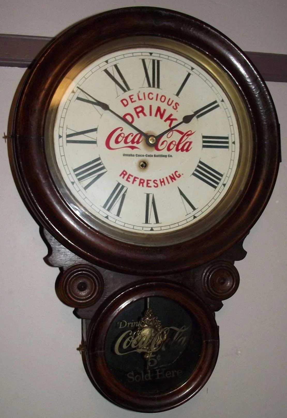 Advertising Clock From The Quot Omaha Coca Cola Bottling