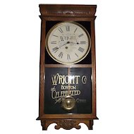 """Wright Company * Boston Coffee""  Advertising Clock marked on the Dial & Glass Tablet Circa 1920-1930's !!!"
