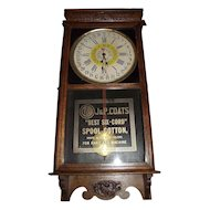 "Full Size Store Advertiser ""J. & P. Coats Spool Cotton"" Clock with Day of Month on Dial circa 1920's !!!"