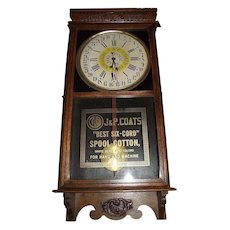 """Full Size Store Advertiser """"J. & P. Coats Spool Cotton"""" Clock with Day of Month on Dial circa 1920's !!!"""