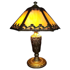 Stained Glass Electric Table Light with Wonderful Floral Rim Motif & Tricolor Gold Painted Base Circa 1930 !!!