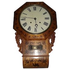 "Marked ""E.N. Welch"" Anglo-American Wall Clock with Brilliant Maple Veneer and inlaid ""Scrolled Flora & Camel"" !"