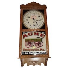 "Rare ""Acme Wagon"" Advertising Clock with Calendar Date made by the New Haven Clock Co. circa 1914 to 1930's."