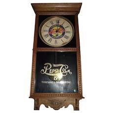 """Pepsi Cola"" Advertising Store Regulator in a Solid Oak case, made by the Wm. Gilbert Clock Co. circa 1935 !"