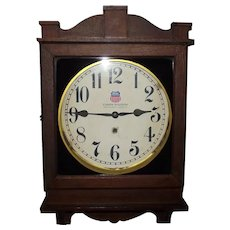 """Union Station * Louisville,Ky."" Gallery Clock in Original Dark Oak Case Circa 1920's !"