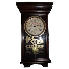 "Original ""Old Coon Cigars"" Miniature Store Advertising Clock in a Professionally Refinished Solid Oak Case circa 1930 !"