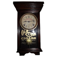 """Original """"Old Coon Cigars"""" Miniature Store Advertising Clock in a Professionally Refinished Solid Oak Case circa 1930 !"""