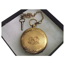 Swiss 18 Karat Gold marked Pocket Watch with Stag Engraving on interior Silvered Dial & Deeply Engraved Lion on Case Reverse !