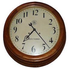 "Large 26 inch ""Pittsburgh & Lake Erie Railroad"" 15 Day Gallery Clock in a Deep Oak Case Factory Dated 1913 !!!"
