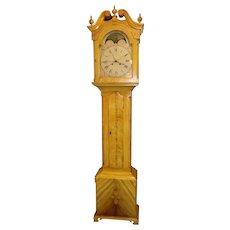 Rare Oley Valley, Berks County Pennsylvania, Folk Art Grain Painted Federal Tall Case Clock, with 4 Hand Movement & American Dial circa 1820 to 1824 !