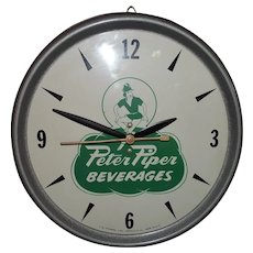 "VERY RARE ""Peter Piper Beverages"" Electric Advertising Clock circa 1950's !"