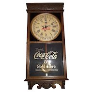 "Combination ""Coca Cola & Woolworth"" Store Advertising Clock with Day of Month Calendar on the Dial with the Early 5 Cent Priced Glass Tablet circa 1920's-1940 !!!"