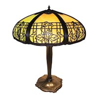 Stained Slag Glass Electric Table Light with Wonderful Floral Rim Overlay Motif with Original Base Circa 1920's !