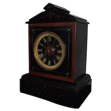 """Bailey,Banks & Biddle Co. * Philadelphia"" Black with Red Marble Trim Mantle Clock with 8 Day Time & Strike Movement with Rare Stone Dial !!!"