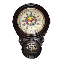 """Pepsi-Cola"" Advertising Store Clock within a Figure 8 Faux Painted Rosewood Case !"