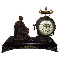 "Seated Figure of a Chieftain ""BRENNUS"" Model with Bronze Clock Case, and Iron Platform, made by the New Haven Clock Company circa 1900 !"