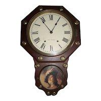 "Seth Thomas ""Office No. 2"" Wall Clock in a Near Mint Walnut Case dated 1917."