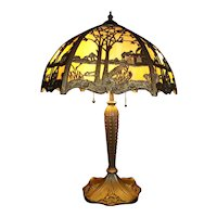 Tree Overlayed Slag Glass Lamp with Original Gold Painted Frame & Base !!!