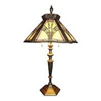 """Art Deco"" Style Slag Glass Table Lamp Circa 1939  !"
