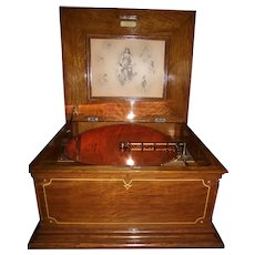 "REGINA Model 11"" Fabulous Fifteen inch Disc Player with a Golden Oak Case and 30 Original Discs included !!!  Sold circa 1898-1899."