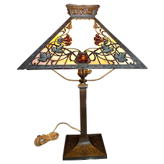 Square  Slag Glass Table Lamp with Hand Stained Flowers & Leaves Circa 1930 !