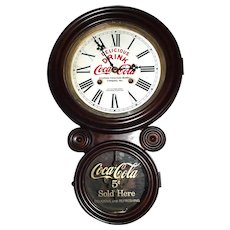 """Coca Cola Advertising Walnut Figure 8 Clock from the """"Keystone Bottling Company * Wilkes-Barre,Pa."""" printed on Dial  !"""
