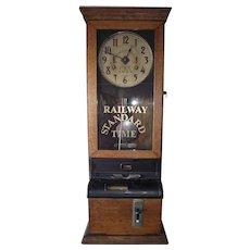 "Large International Time Recorder ""Pennsylvania Railroad"" Employee Time Clock circa 1925 !!!"