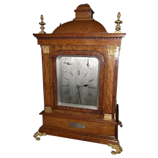 "Monumental  29 inch Tall Triple Fusee Mantle Clock with 2 Songs on 9 Bells, and One Coil Chime Gong ""Presented to  Royal Arch Mason W.S. Cadman"" dated 1915 !!!"
