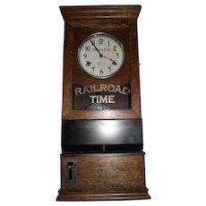 """Pennsylvania Railroad"" Employee Time Punch Clock Circa 1910 to 1919 !!!"