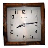 """""""BULOVA"""" Electric Advertising Wall Clock with Highly Figured Birchwood Front Door, and 2 identification tags inside."""